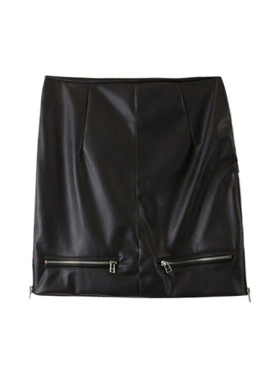 chic PU Leather Zipper High Waist Skirt - BLACK L