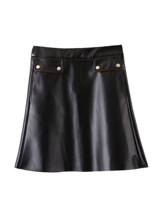 fancy PU Leather High Waist A Line Skirt - BLACK S