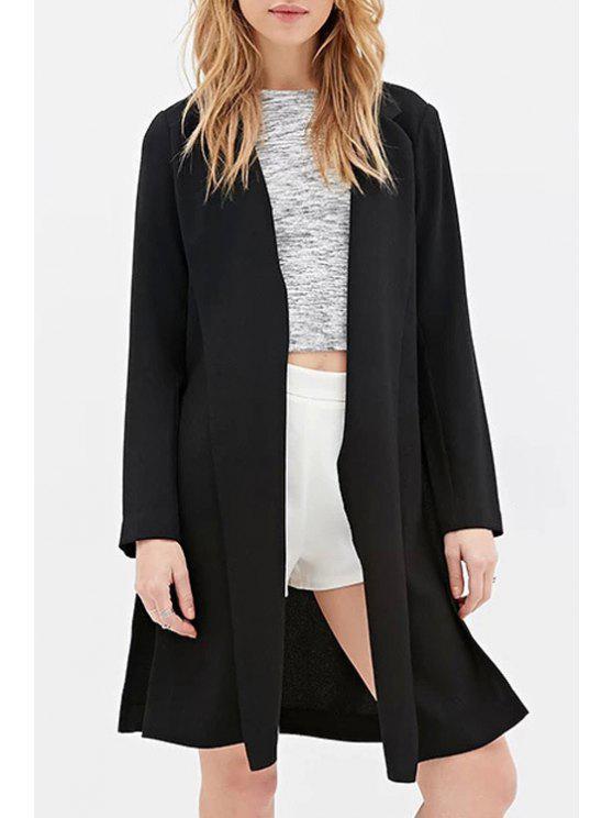 affordable Lapel Side Slit Black Blazer - BLACK XS