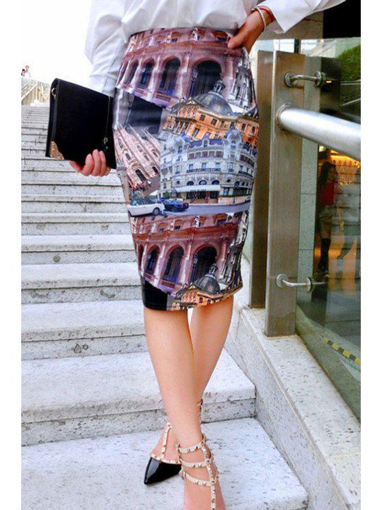 sale Building Print Geometric Women's Skirt - COLORMIX M
