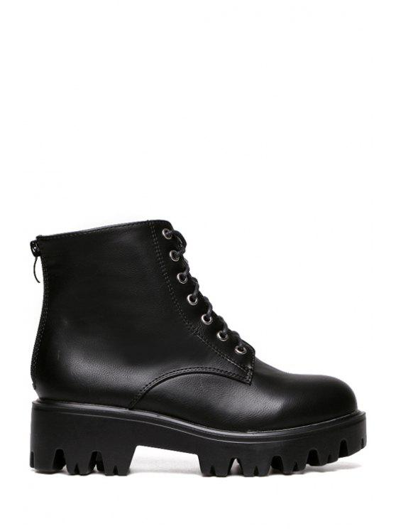 affordable Lace-Up Zipper Solid Color Ankle Boots - BLACK 35