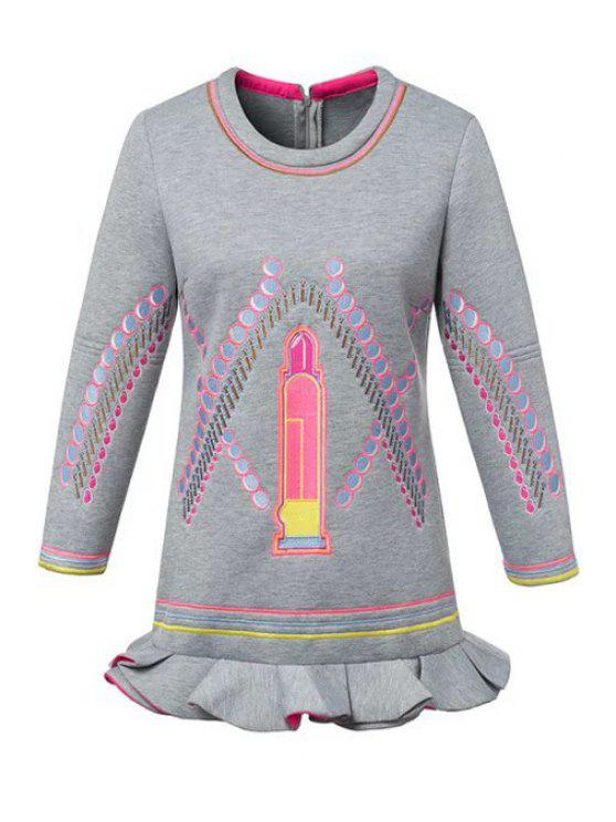 buy Lip Embroidery Long Sleeve Dress - GRAY S