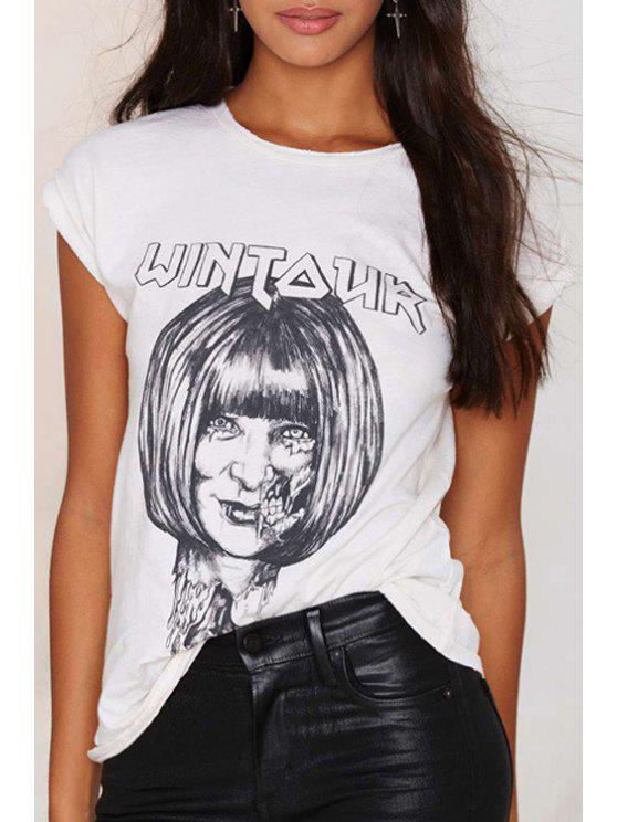 hot Short Sleeve Horror Face T-Shirt - WHITE XS