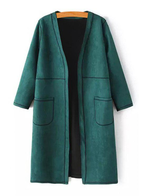 ladies Open Front Two Pockets Suede Coat - GREEN S