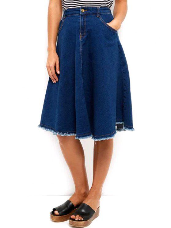 affordable Denim High Waisted Blue Skirt - BLUE M
