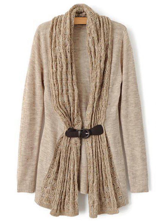 buy Hollow Spliced Long Sleeve Cardigan - LIGHT KHAKI L