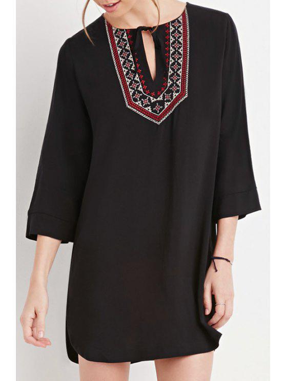 best Ethnic Embroidery 3/4 Sleeve Dress - BLACK S
