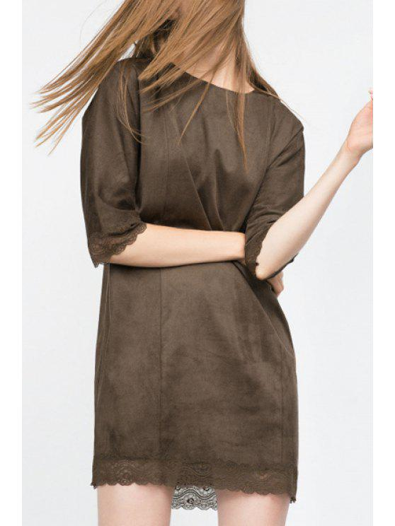 hot Lace Spliced Half Sleeve Pure Color Dress - ARMY GREEN S
