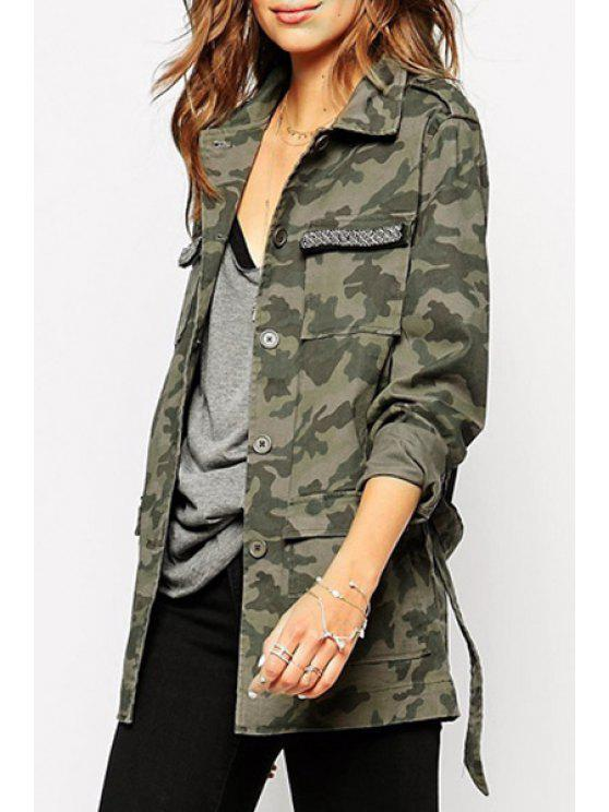 new Camouflage Print Turn Down Collar Trench Coat - CAMOUFLAGE COLOR S