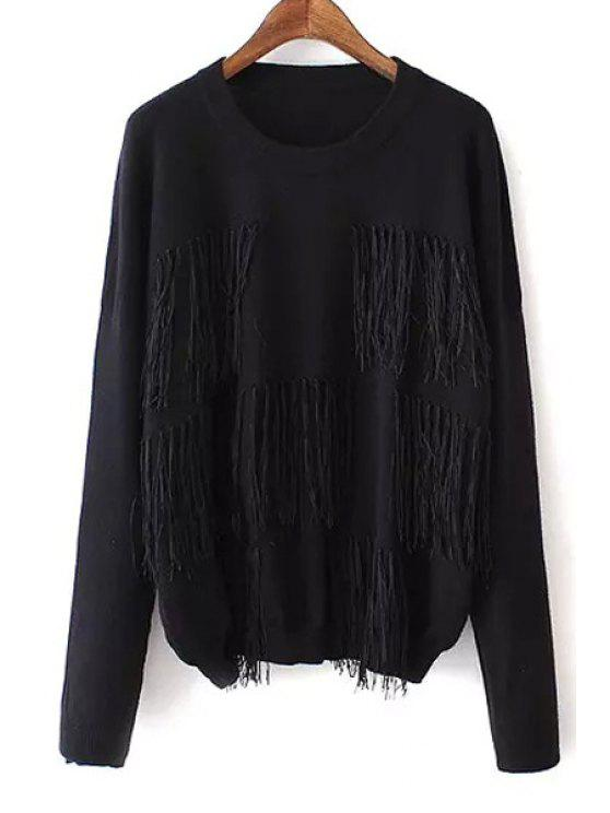 online Tassels Spliced Solid Color Sweater - BLACK ONE SIZE(FIT SIZE XS TO M)