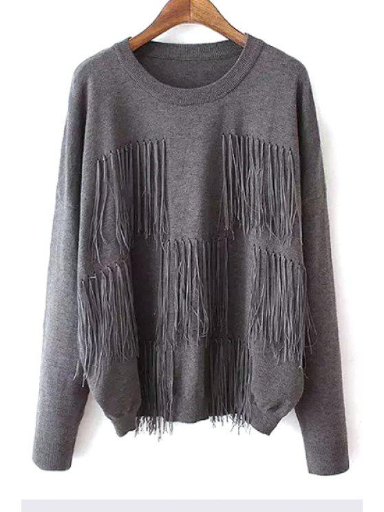 new Tassels Spliced Solid Color Sweater - GRAY ONE SIZE(FIT SIZE XS TO M)