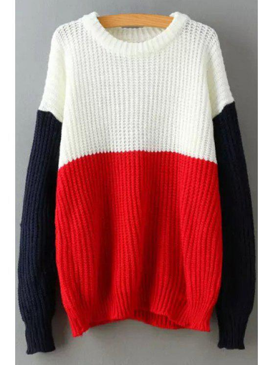 outfits Color Block Long Sleeves Pullover Sweater - RED ONE SIZE(FIT SIZE XS TO M)