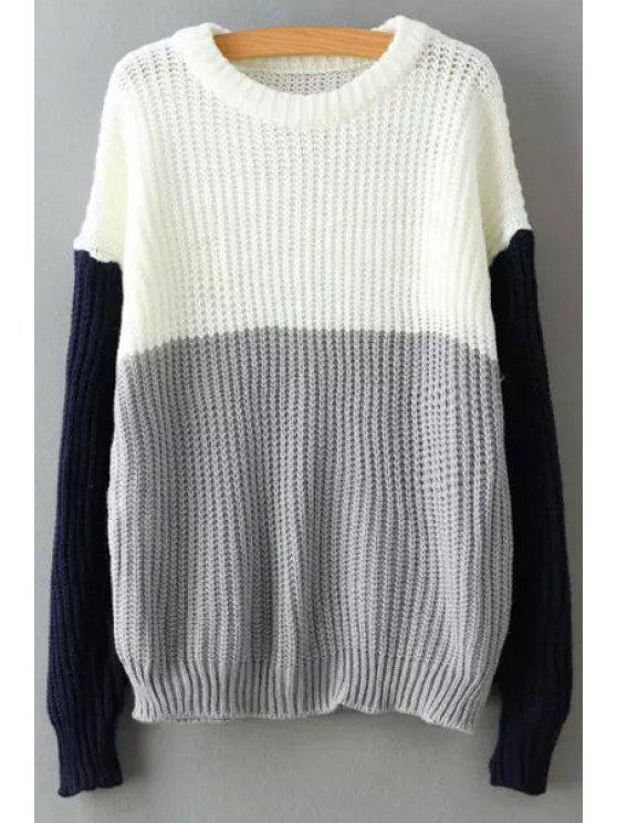 Color Block Long Sleeves Pullover Sweater - GRAY ONE SIZE(FIT SIZE XS TO M)