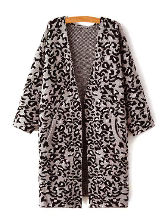 outfit Open Front Leopard Pattern Long Cardigan - GRAY S