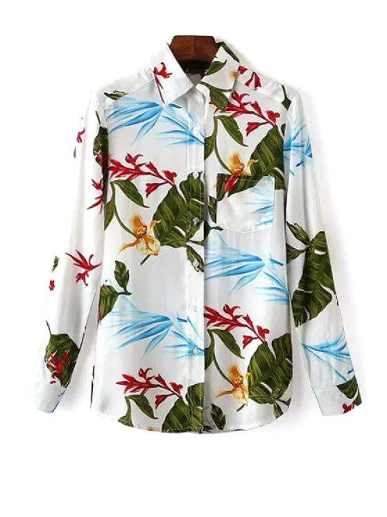 chic OL Style Leaf Print Shirt - WHITE S
