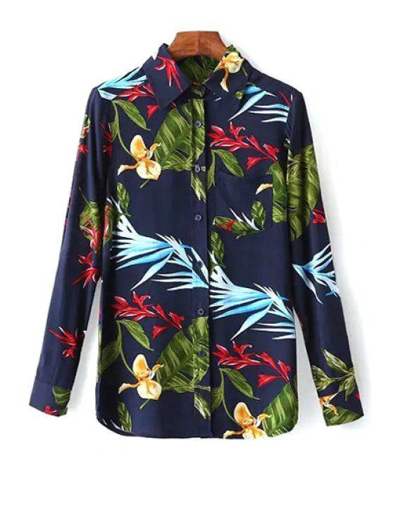 sale OL Style Leaf Print Shirt - PURPLISH BLUE S