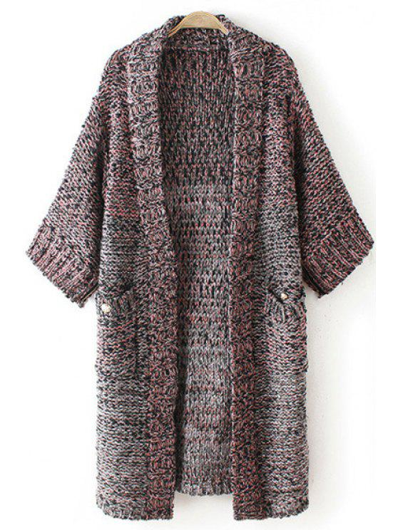 women Ombre Color 3/4 Sleeve Long Cardigan - AS THE PICTURE ONE SIZE(FIT SIZE XS TO M)
