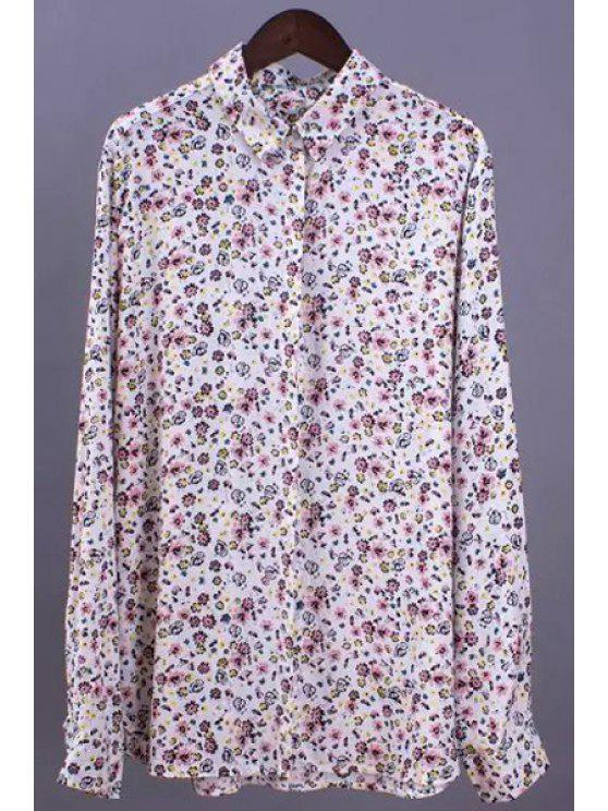 hot Tiny Flower Print Shirt Neck Long Sleeve Shirt - WHITE S