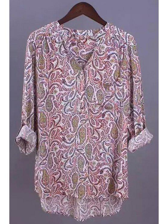 women's Paisley Print Stand Neck Long Sleeve Blouse - AS THE PICTURE XL