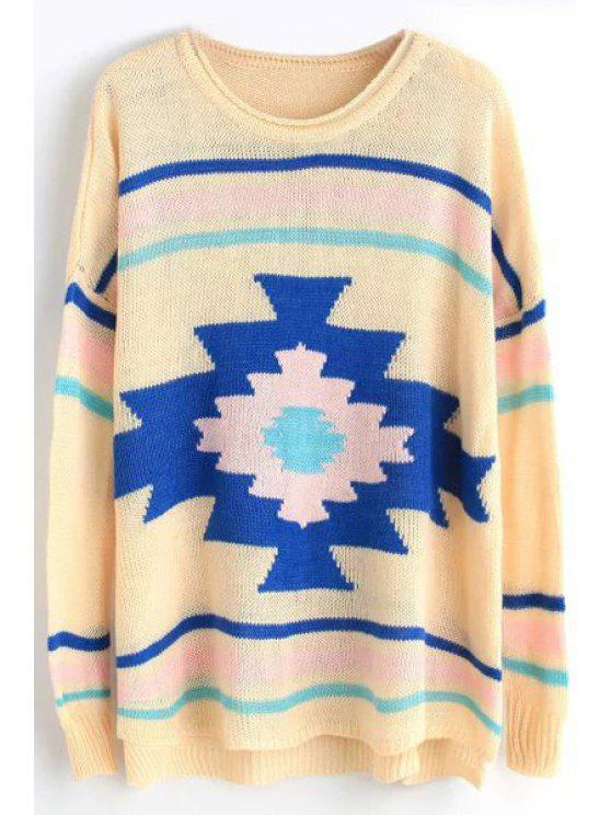 women's Long Sleeves Geometric Pattern Pullover Sweater - PINK ONE SIZE(FIT SIZE XS TO M)