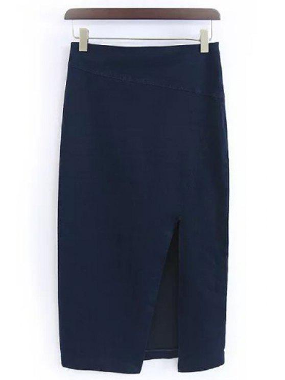 ladies Solid Color Side Slit Skirt - PURPLISH BLUE M