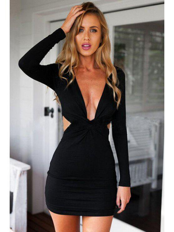online Plunging Neck Front Twist Dress - BLACK S