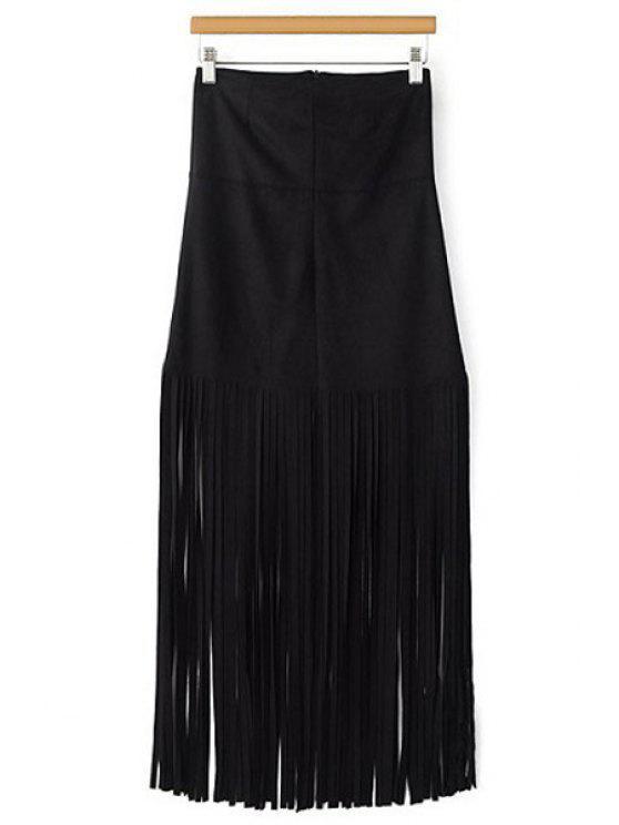 best Tassels Spliced High Waisted Skirt - BLACK S