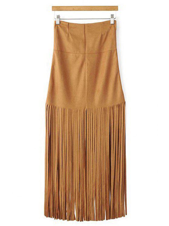 outfits Tassels Spliced High Waisted Skirt - KHAKI L