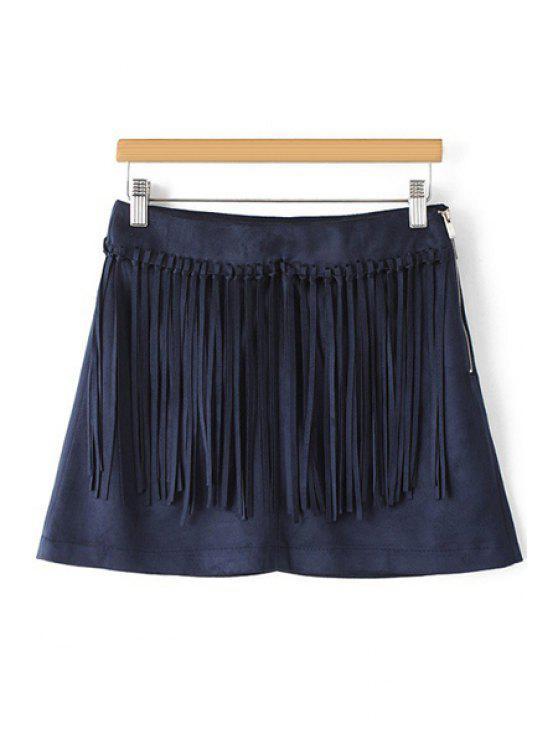 shop Tassels Spliced A Line Skirt - PURPLISH BLUE S