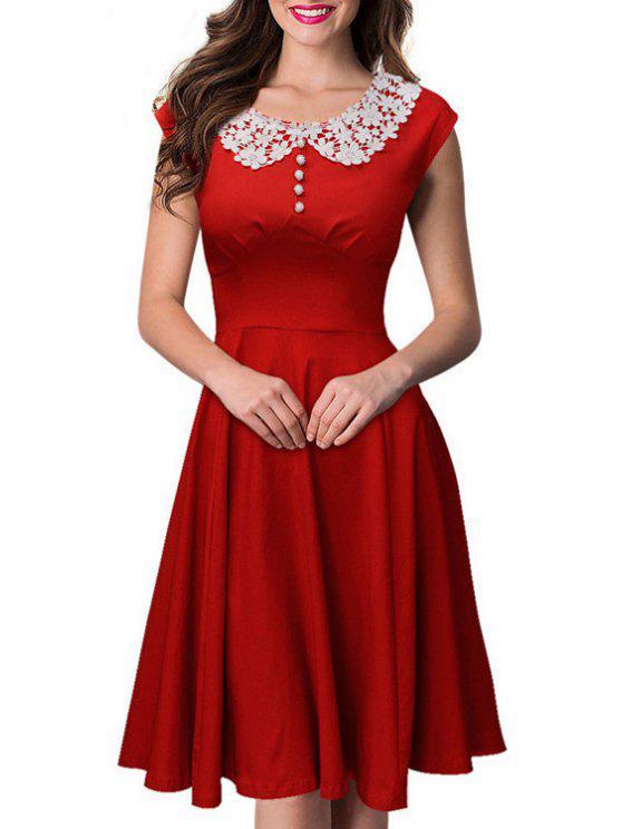 sale Short Sleeve Lace Spliced Swing Dress - RED S