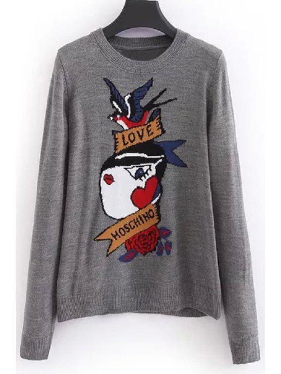 buy Cartoon Pattern Round Collar Long Sleeves Pullover Sweater - GRAY ONE SIZE(FIT SIZE XS TO M)
