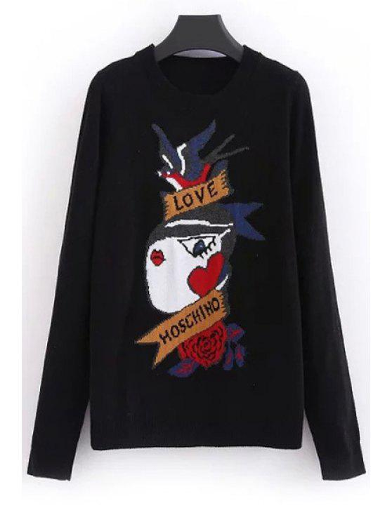 sale Cartoon Pattern Round Collar Long Sleeves Pullover Sweater - BLACK ONE SIZE(FIT SIZE XS TO M)
