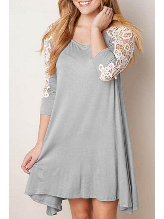 affordable Lace Spliced A Line 3/4 Sleeve Dress - GRAY S