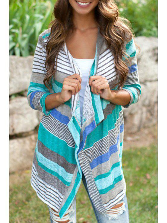 buy Colorful Striped 3/4 Sleeve Coat - GREEN S