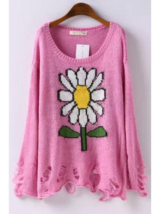outfit Flower Pattern Long Sleeve Jumper - PINK M