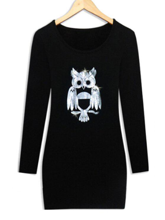 hot Long Sleeve Night Owl Thick Dress - BLACK L