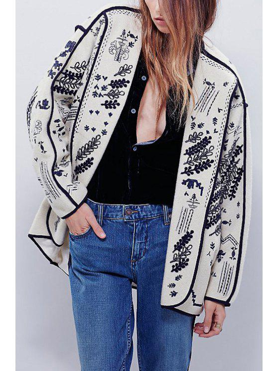 best Floral Embroidered Long Sleeve Coat - WHITE S