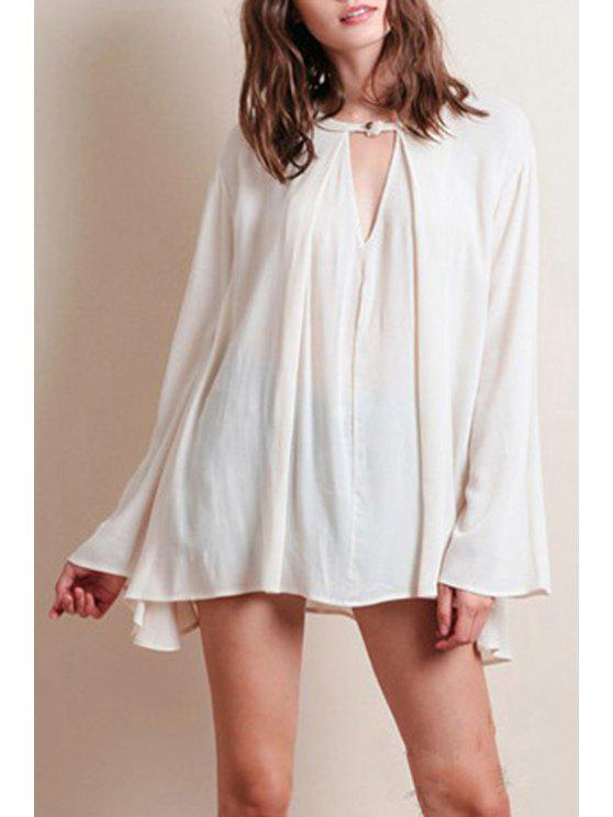 womens Bell Sleeve Loose Chiffon Fall Top - OFF-WHITE S