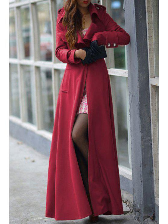 trendy Lapel One Button Faux Wool Coat - RED M