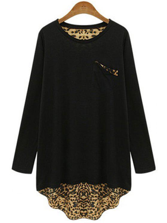 buy Long Sleeve Leopard Back Loose T-Shirt - BLACK 4XL