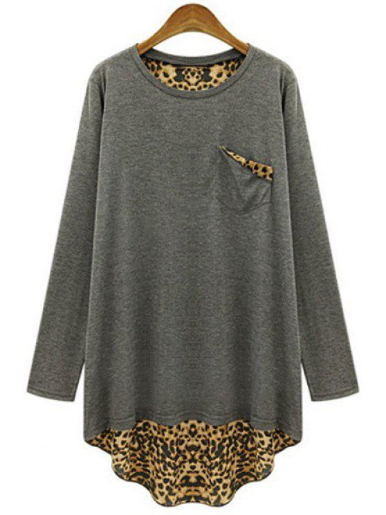 women's Long Sleeve Leopard Back Loose T-Shirt - GRAY 2XL