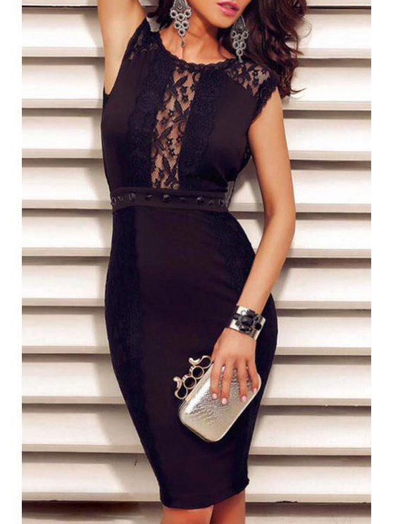 chic Lace Splicing Sleeveless Backless Black Dress - BLACK ONE SIZE(FIT SIZE XS TO M)