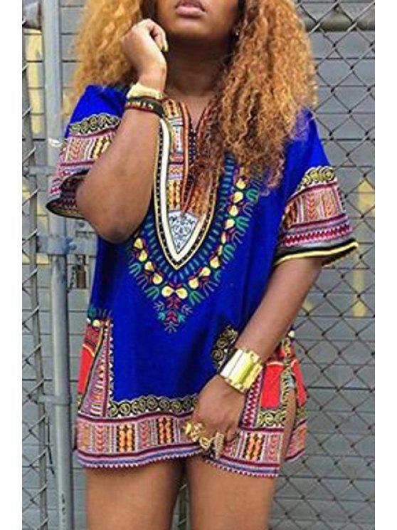 shops Short Sleeve Ethnic Print Dress - BLUE S