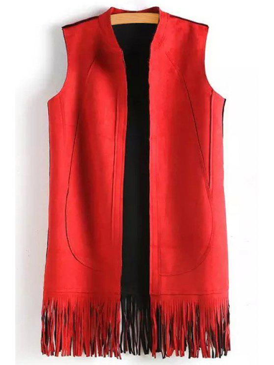 Solid Color Tassels Stand Neck Waistcoat - Vermelho S