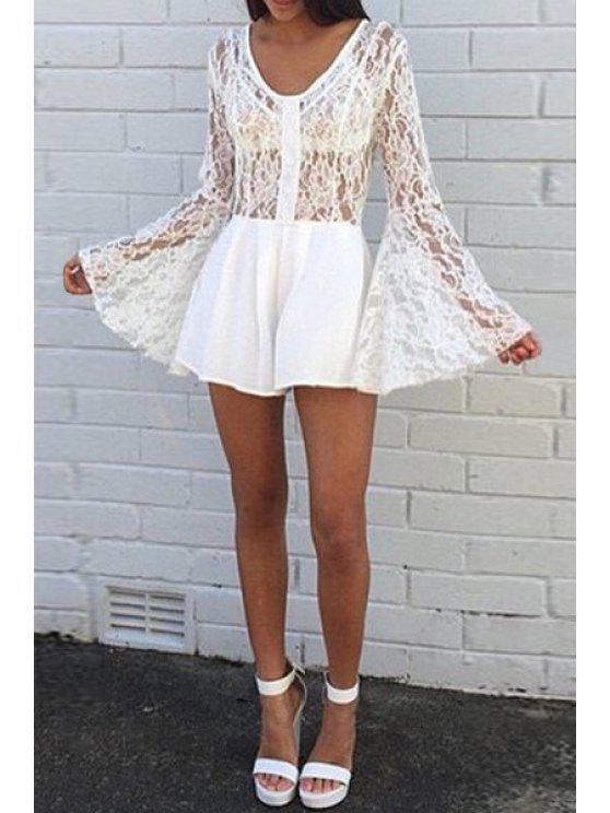 women's Bell Sleeve Hollow Out Lace Playsuit - WHITE S