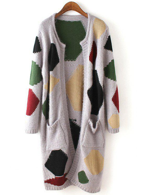 women's Long Sleeve Geometric Pattern Scoop Neck Cardigan - GRAY ONE SIZE(FIT SIZE XS TO M)