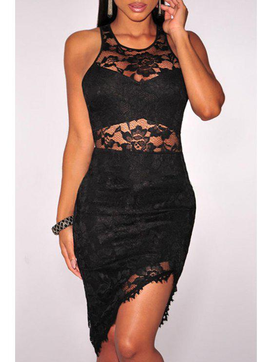 women Solid Color Bodycon Round Collar Sleeveless Lace Dress - BLACK ONE SIZE(FIT SIZE XS TO M)