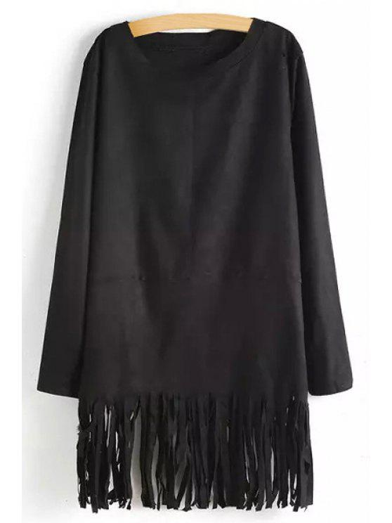 latest Tassels Solid Color Long Sleeve Dress - BLACK M