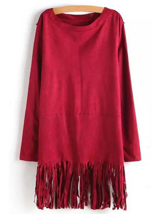 trendy Tassels Solid Color Long Sleeve Dress - RED S