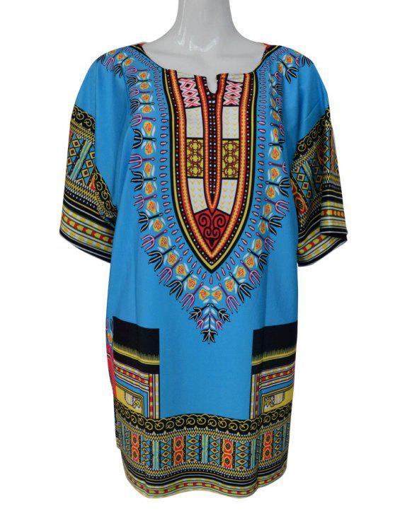 women's Short Sleeve Printed Dress - BLUE S